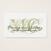 Sage Black Monogram Customizable Business Card