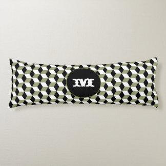sage, Black & White 3D Cubes Pattern Body Pillow