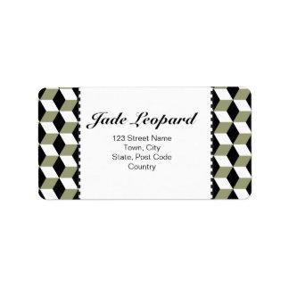 Sage Black & White 3D Cubes Pattern Custom Address Label