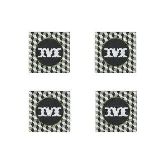 sage, Black & White 3D Cubes Pattern Stone Magnet
