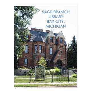 SAGE BRANCH LIBRARY, BAY CITY, MICHIGAN POST CARD