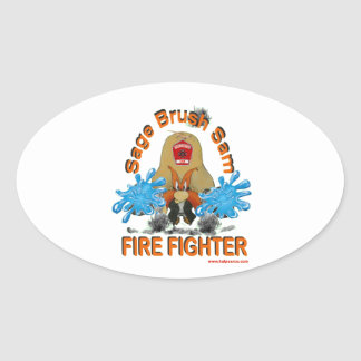 Sage_Brush_Sam_Firefighter Oval Sticker