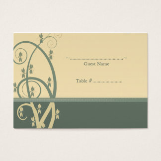 Sage Canary Floral Vine Wedding Seating Card