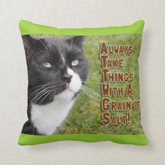 Sage Cat Advice Throw Pillow