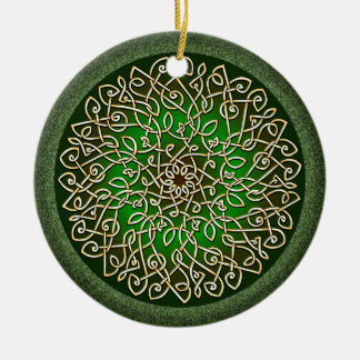 Sage Celtic Burst Double-Sided Ceramic Round Christmas Ornament