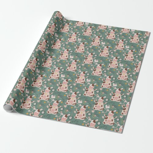 Sage Christmas Cow Pattern Wrapping Paper