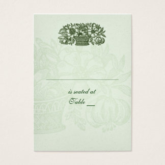 Sage Classic Flower Basket Placecard Business Card