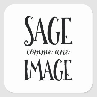Sage Comme Une Image - Funny French Expression Square Sticker