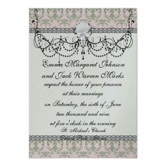 sage damask pattern on soft pink card