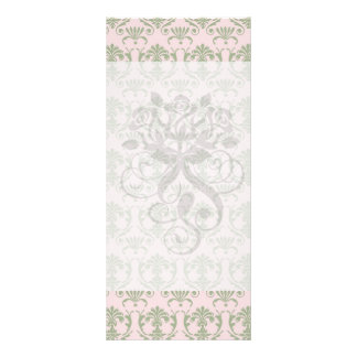 sage damask pattern on soft pink full color rack card