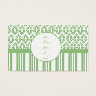 sage damask stripe business card