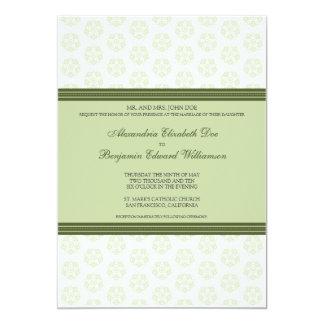 Sage Decorative Stamp Formal Wedding Invitation