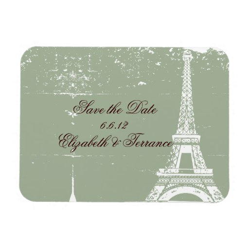 Sage Eiffel Tower Save the Date Wedding Magnets