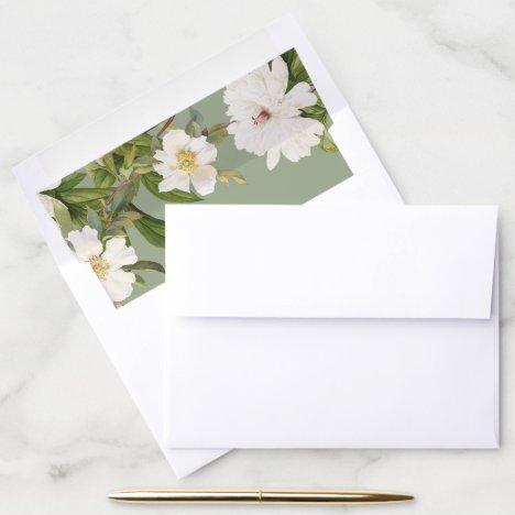 Sage Envelope Liner Vintage White Floral Wedding