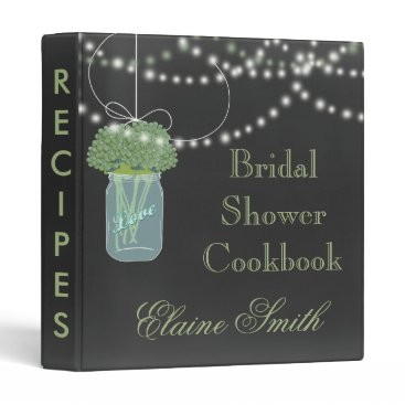 Sage floral Chalkboard Mason Jar Recipe Folder