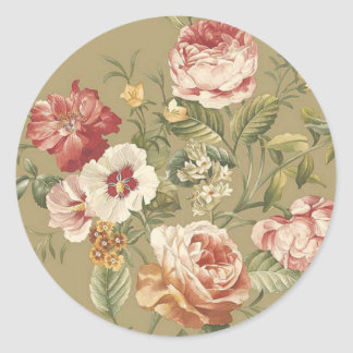 Sage Floral Roses Classic Round Sticker
