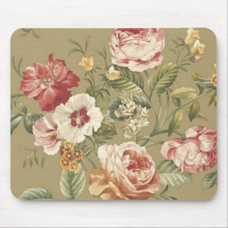 Sage Floral Roses Mouse Pad