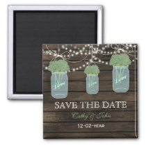 sage flowers in a mason jar save the Date Magnet