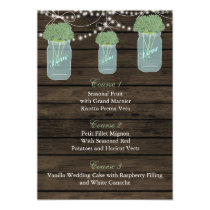 sage flowers in a mason jar wedding menu cards
