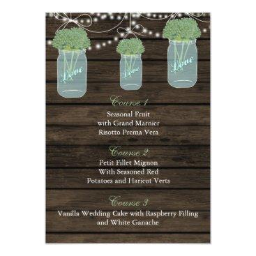 sage flowers in a mason jar wedding menu cards