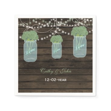 sage flowers mason jar personalized wedding napkin