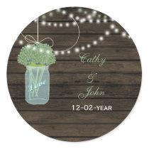 sage flowers mason jar wedding favor stickers