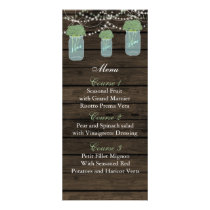 sage flowers mason jar wedding menu cards