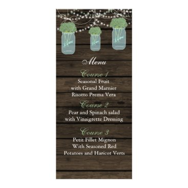 sage flowers mason jar wedding menu cards