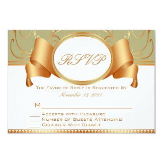 Sage & Gold Ribbon Wedding RSVP Response Cards
