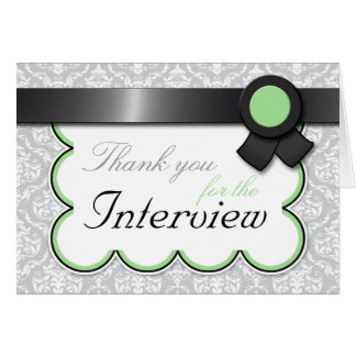 """Sage & Gray Damask """"Thank You for the Interview"""" Card"""