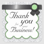 """Sage & Gray Damask """"Thank you for your Business"""" Square Stickers"""
