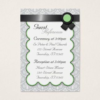 Sage & Gray Damask Wedding Guest Reference Cards