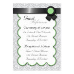 Sage & Gray Damask Wedding Guest Reference Cards Large Business Cards (Pack Of 100)