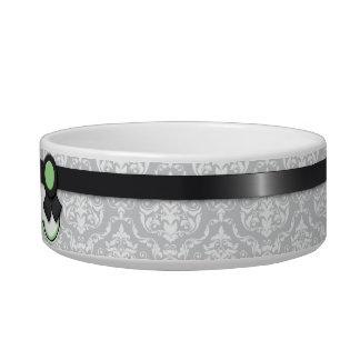 Sage & Gray Ribbon Design Damask Cat Bowl