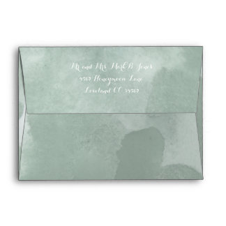 Sage Green Abstract Watercolor Pattern Envelope