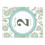 Sage Green and Aqua Table Number Postcard