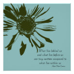Sage Green and Blue Inspirational Floral Poster