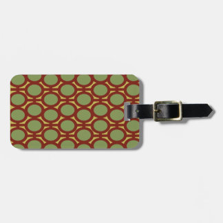 Sage Green and Brown Eyelets Luggage Tag