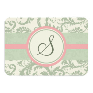 Sage Green and Dusty Rose Damask Wedding RSVP Card