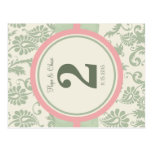 Sage Green and Dusy Rose Table Number Postcard
