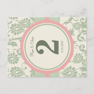 Sage Green and Dusy Rose Table Number Postcards