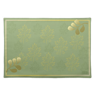 Sage Green and Gold Leaves Cloth Placemat