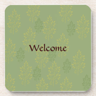 Sage Green and Gold Leaves Welcome Drink Coaster