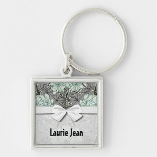 sage green and grey foliage art nouveau floral keychain