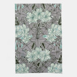 sage green and grey foliage art nouveau floral hand towel
