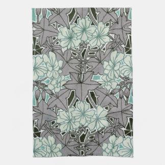 sage green and grey foliage art nouveau floral kitchen towel