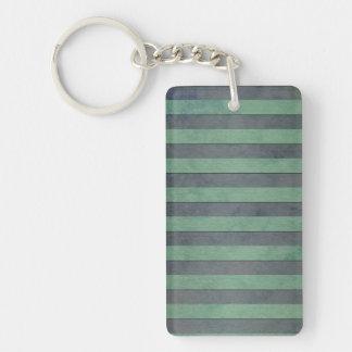 Sage Green and Heather Grey Stripes Pattern Keychain