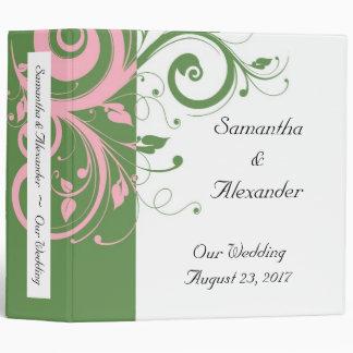Sage Green and Pink Swirl Wedding 3 Ring Binder