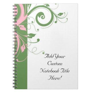 Sage Green and Pink Swirl Wedding Spiral Note Book