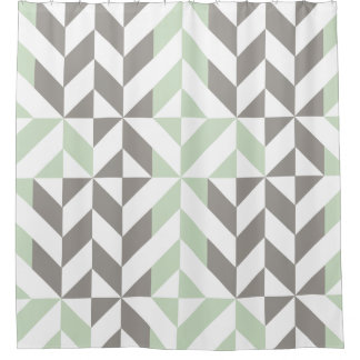 sage green and silver geometric cube shower curtain